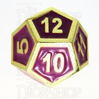 TDSO Metal Fire Forge Gold & Purple Enamel D12 Dice