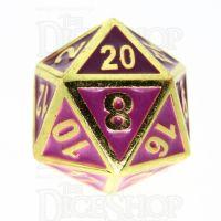 TDSO Metal Fire Forge Gold & Purple Enamel D20 Dice