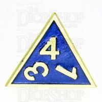 TDSO Metal Fire Forge Gold & Blue Enamel D4 Dice