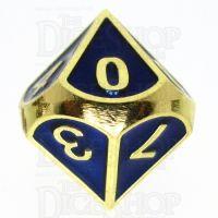 TDSO Metal Fire Forge Gold & Blue Enamel D10 Dice