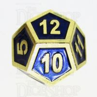 TDSO Metal Fire Forge Gold & Blue Enamel D12 Dice