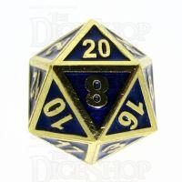 TDSO Metal Fire Forge Gold & Blue Enamel D20 Dice