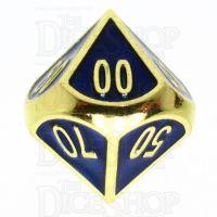 TDSO Metal Fire Forge Gold & Blue Enamel Percentile Dice