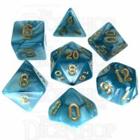 TDSO Pearl Teal & Gold 7 Dice Polyset