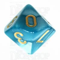TDSO Pearl Teal & Gold D10 Dice