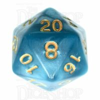 TDSO Pearl Teal & Gold D20 Dice