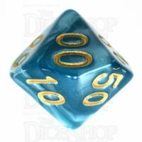 TDSO Pearl Teal & Gold Percentile Dice