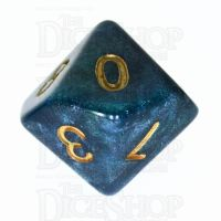 TDSO Galaxy Shimmer Blue & Green D10 Dice