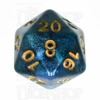 TDSO Galaxy Shimmer Blue & Green D20 Dice