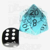 TDSO Turquoise Green Synthetic with Engraved Black Numbers JUMBO 30mm Precious Gem D20 Dice