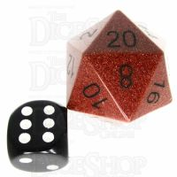 TDSO Goldstone Gold with Engraved Black Numbers JUMBO 30mm Precious Gem D20 Dice
