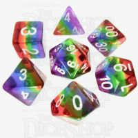 TDSO Layer Transparent Rainbow 7 Dice Polyset