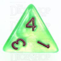 TDSO Pearl Bright Green & Purple D4 Dice