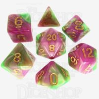 TDSO Duel Pearl Green & Rose 7 Dice Polyset
