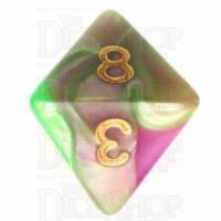TDSO Duel Pearl Green & Rose D8 Dice