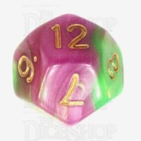 TDSO Duel Pearl Green & Rose D12 Dice
