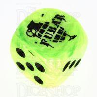 Chessex Vortex Bright Green FUBAR Logo D6 Spot Dice