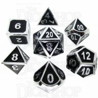 TDSO Metal Fire Forge Silver & Black Enamel 7 Dice Polyset