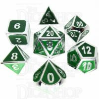 TDSO Metal Fire Forge Silver & Green Enamel 7 Dice Polyset