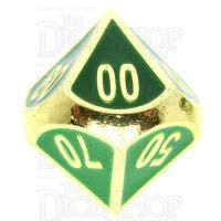 TDSO Metal Fire Forge Gold & Green Enamel Percentile Dice