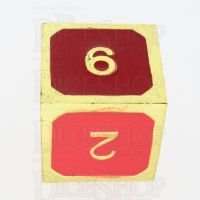 TDSO Metal Fire Forge Gold & Red Enamel D6 Dice