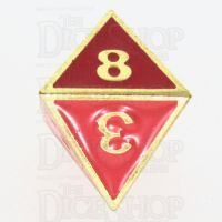 TDSO Metal Fire Forge Gold & Red Enamel D8 Dice