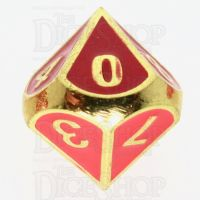 TDSO Metal Fire Forge Gold & Red Enamel D10 Dice
