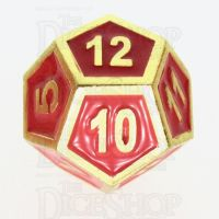TDSO Metal Fire Forge Gold & Red Enamel D12 Dice
