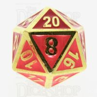 TDSO Metal Fire Forge Gold & Red Enamel D20 Dice