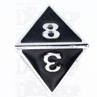 TDSO Metal Fire Forge Silver & Black Enamel D8 Dice