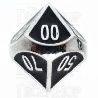 TDSO Metal Fire Forge Silver & Black Enamel Percentile Dice