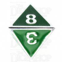 TDSO Metal Fire Forge Silver & Green Enamel D8 Dice