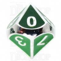 TDSO Metal Fire Forge Silver & Green Enamel D10 Dice