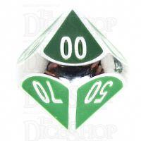 TDSO Metal Fire Forge Silver & Green Enamel Percentile Dice
