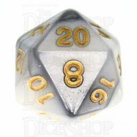 TDSO Duel Steel & White D20 Dice