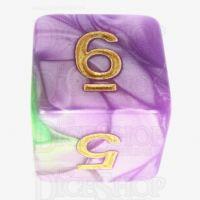 TDSO Marbleised Purple & Green D6 Dice