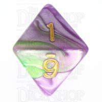 TDSO Marbleised Purple & Green D8 Dice