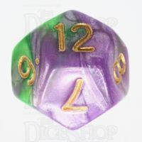 TDSO Marbleised Purple & Green D12 Dice