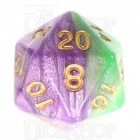TDSO Marbleised Purple & Green D20 Dice