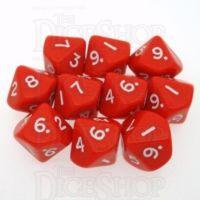 D&G Opaque Red 10 x D10 Dice Set