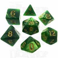 TDSO Duel Dark Green & Pearl Light Green 7 Dice Polyset
