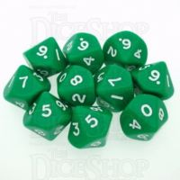 D&G Opaque Green 10 x D10 Dice Set