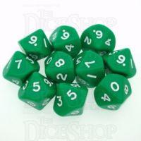D&G Opaque Green 10 x D10 Dice Set