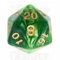 TDSO Duel Dark Green & Pearl Light Green D20 Dice