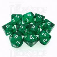 D&G Gem Green 10 x D10 Dice Set