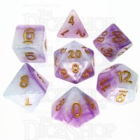 TDSO Marbleised Purple Blue & White 7 Dice Polyset