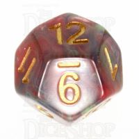 TDSO Pearl Swirl Green Red & Blue D12 Dice