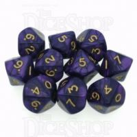 D&G Pearl Purple & Gold 10 x D10 Dice Set
