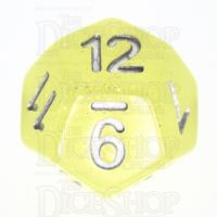 TDSO Translucent Glitter Yellow D12 Dice