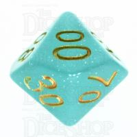 TDSO Translucent Glitter Teal Percentile Dice